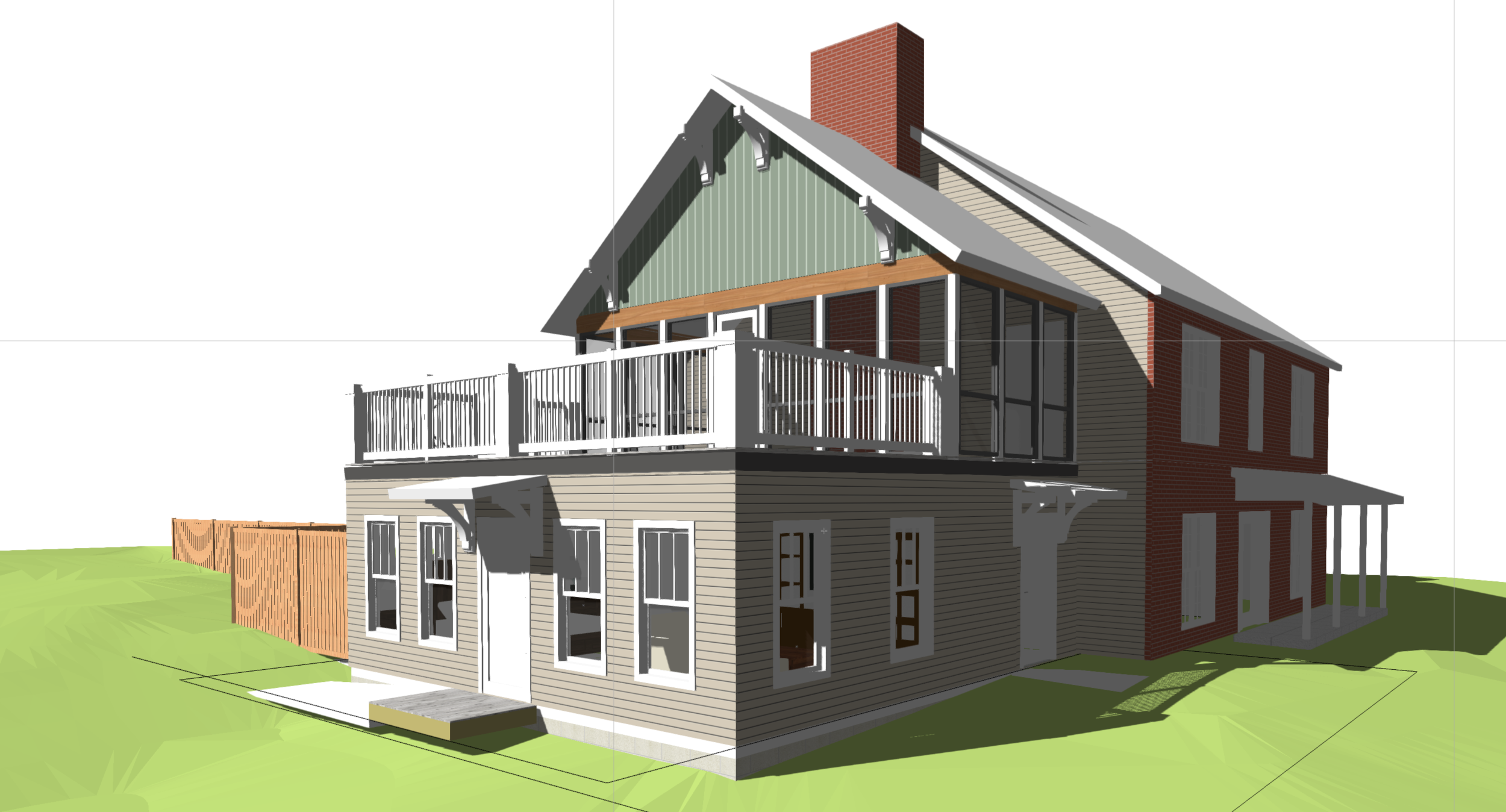 Wyatt Addition - Traditional Mother-in-law Suite addition with partially screened in roof deck. Unbuilt.
