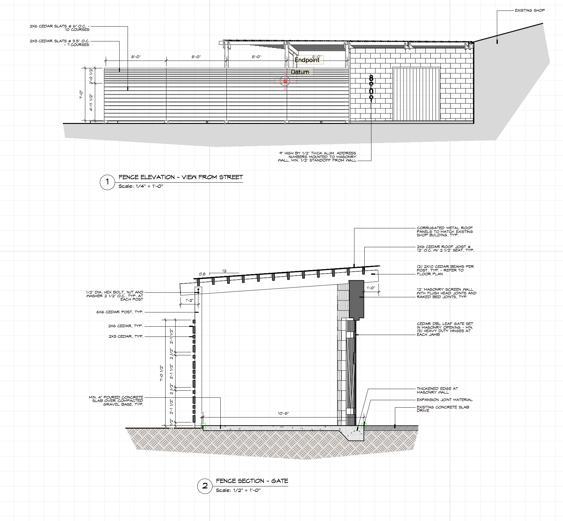 Excerpt of construction drawings for a modern entry screen wall and covered walk for a single family residence.