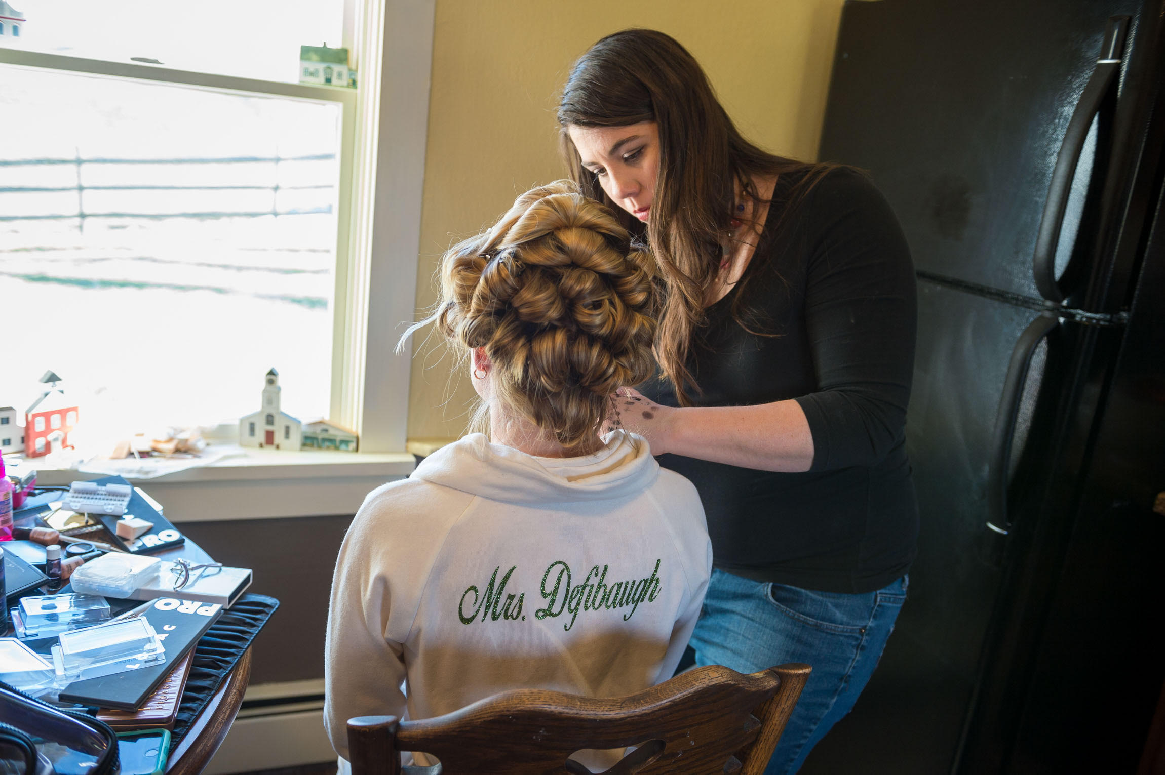 Classic hair styling and makeup for a Pittsburgh bride-to-be and her bridal party