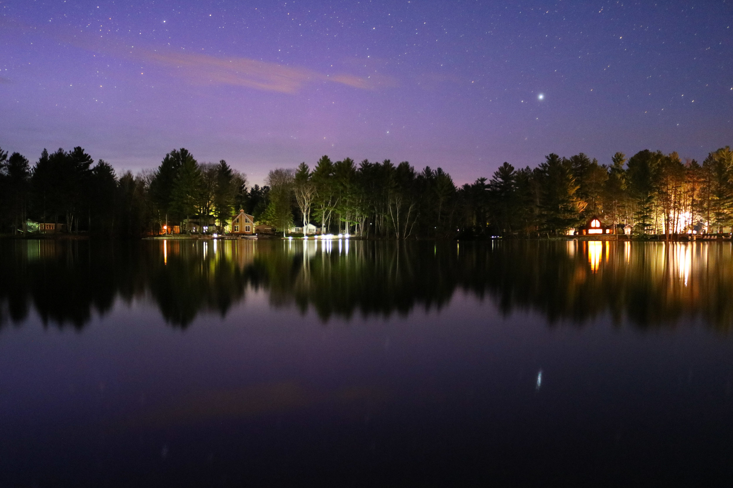 Nighttime-Lake-Reflection-Stars-Gladwin-Michigan-Photography