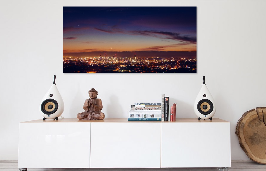 Acrylic Mounted - A fine art metallic paper print face-mounted on a high grade polished sheet of 4.5mm thick acrylic and finished off with a Dibond aluminium composite panel on the back. You will have the choice of hanging wire or picture strips to mount to your wall.