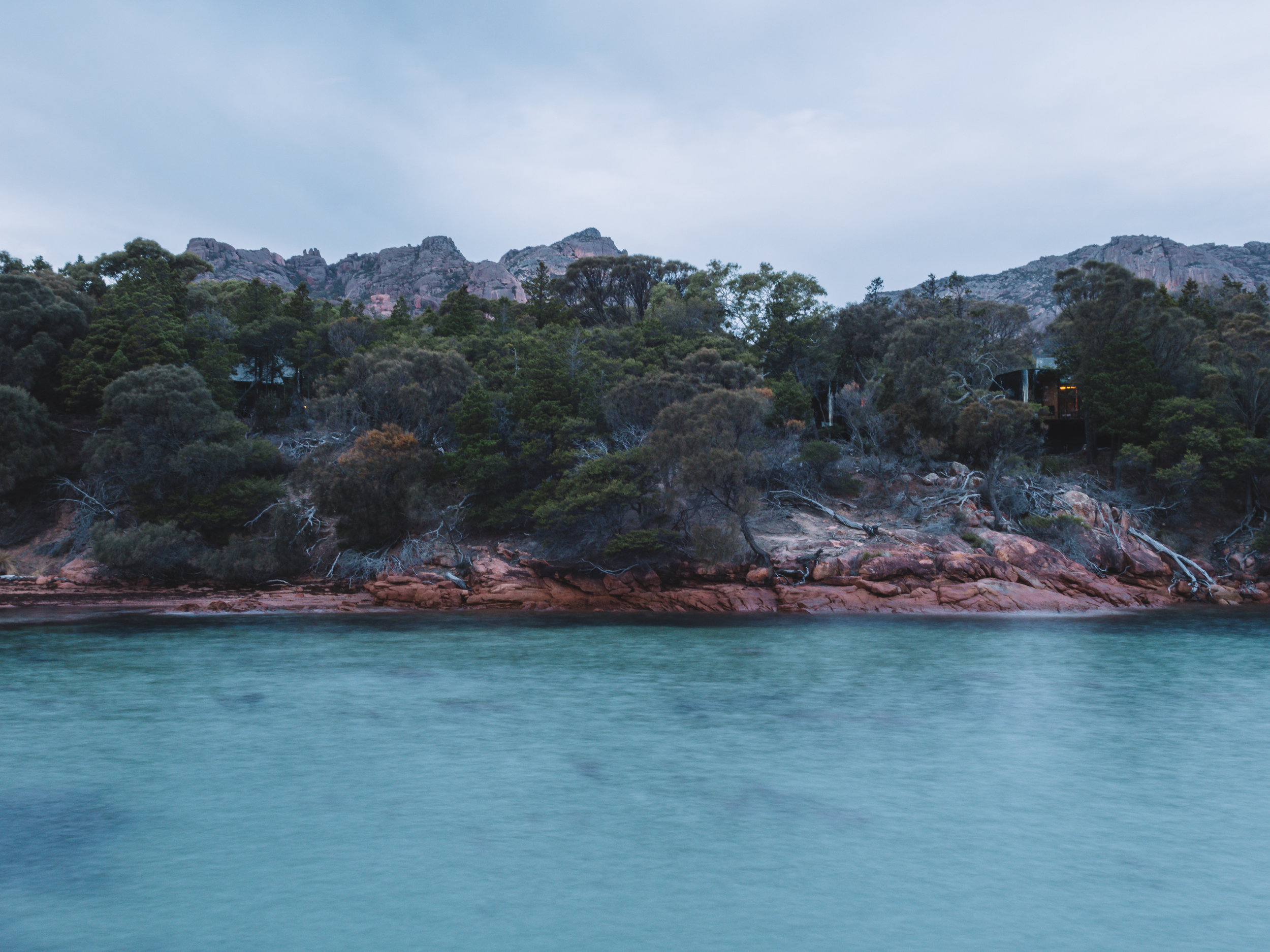 Freycinet Lodge with The Hazards in the background, Coles Bay, Tasmania