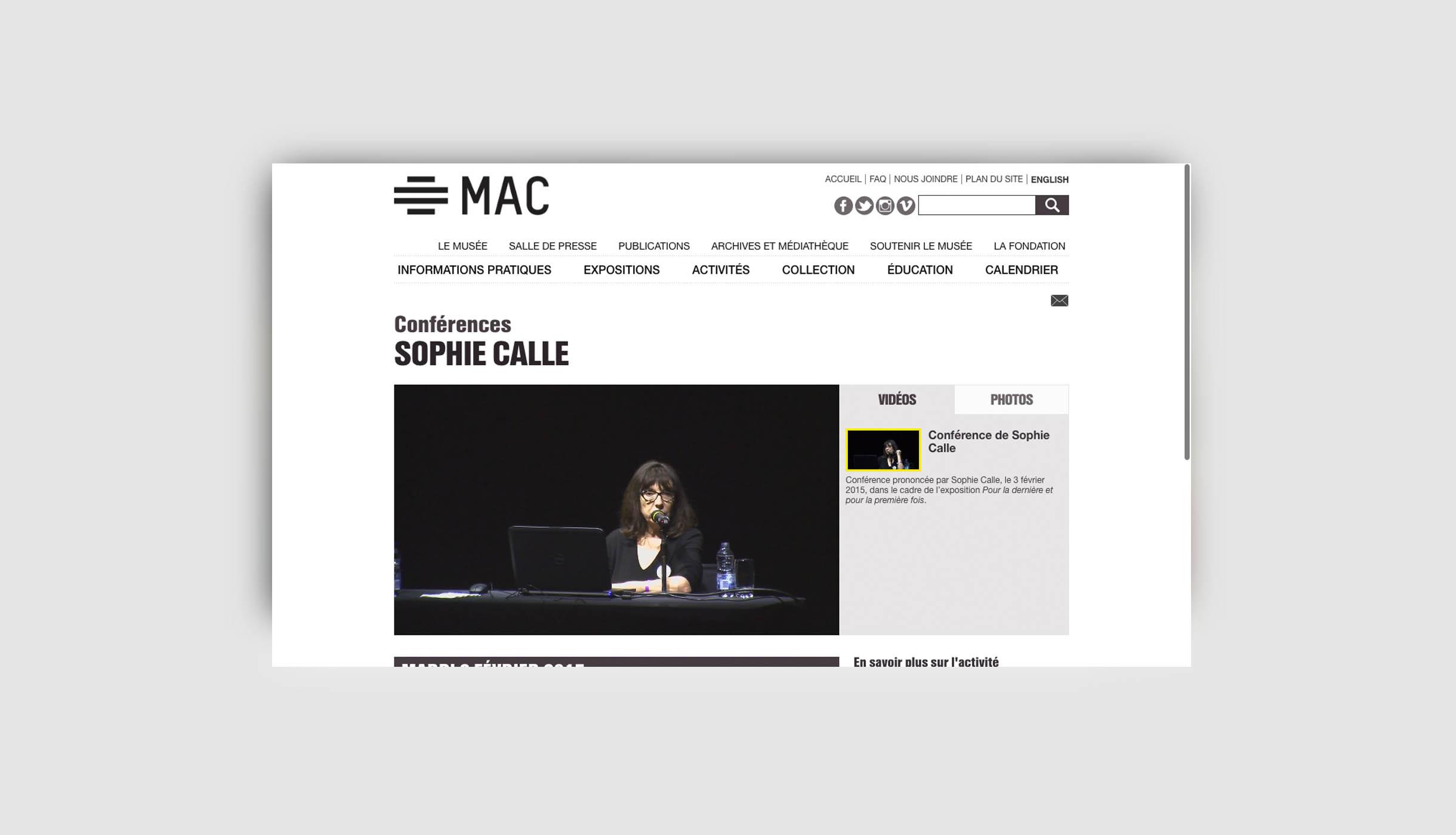 Site web du MAC de Montréal