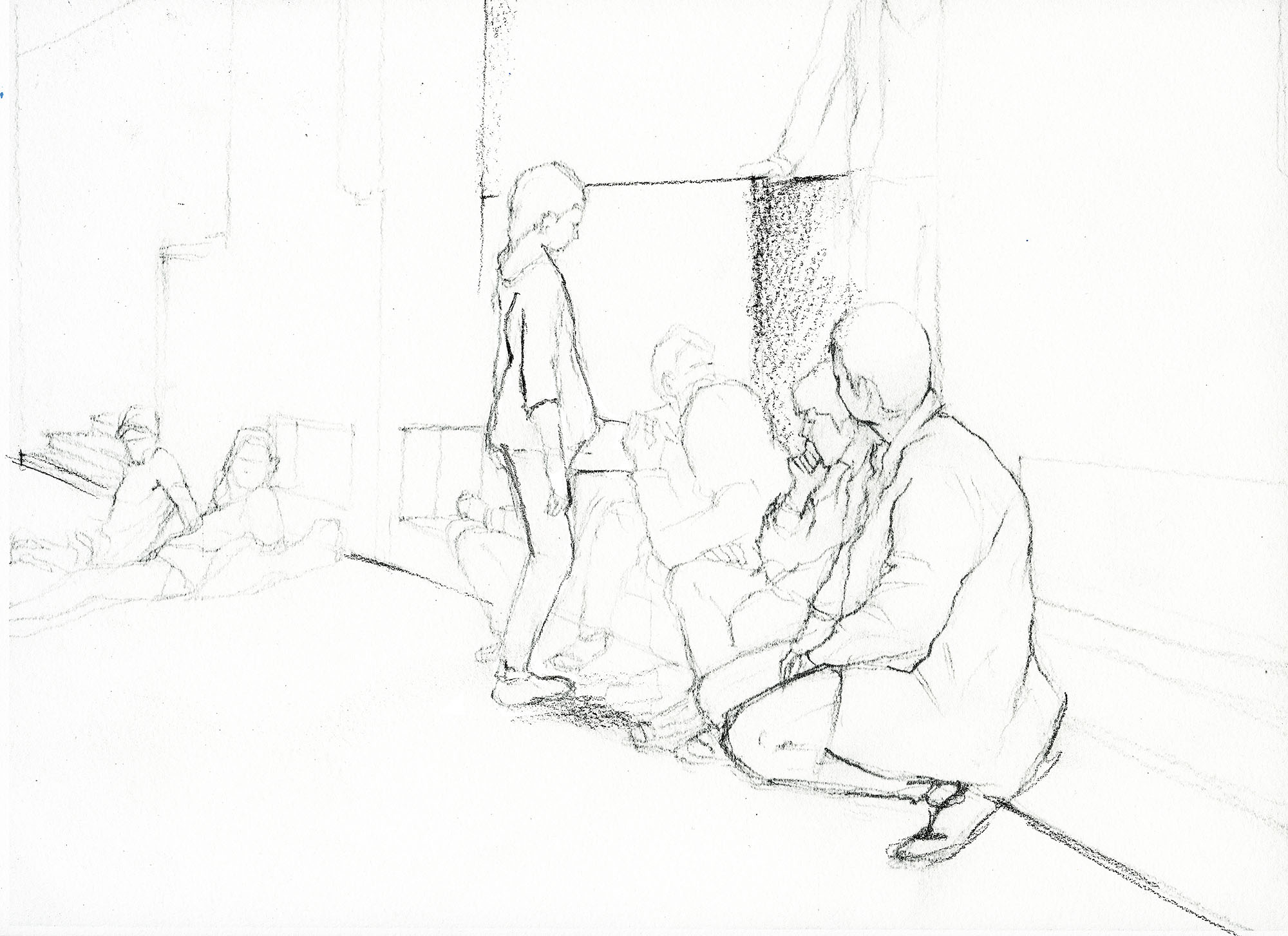 Philippe Parreno,Tino Sehgal's Annlee, drawn at Palais de Tokyo. Pencil on paper.
