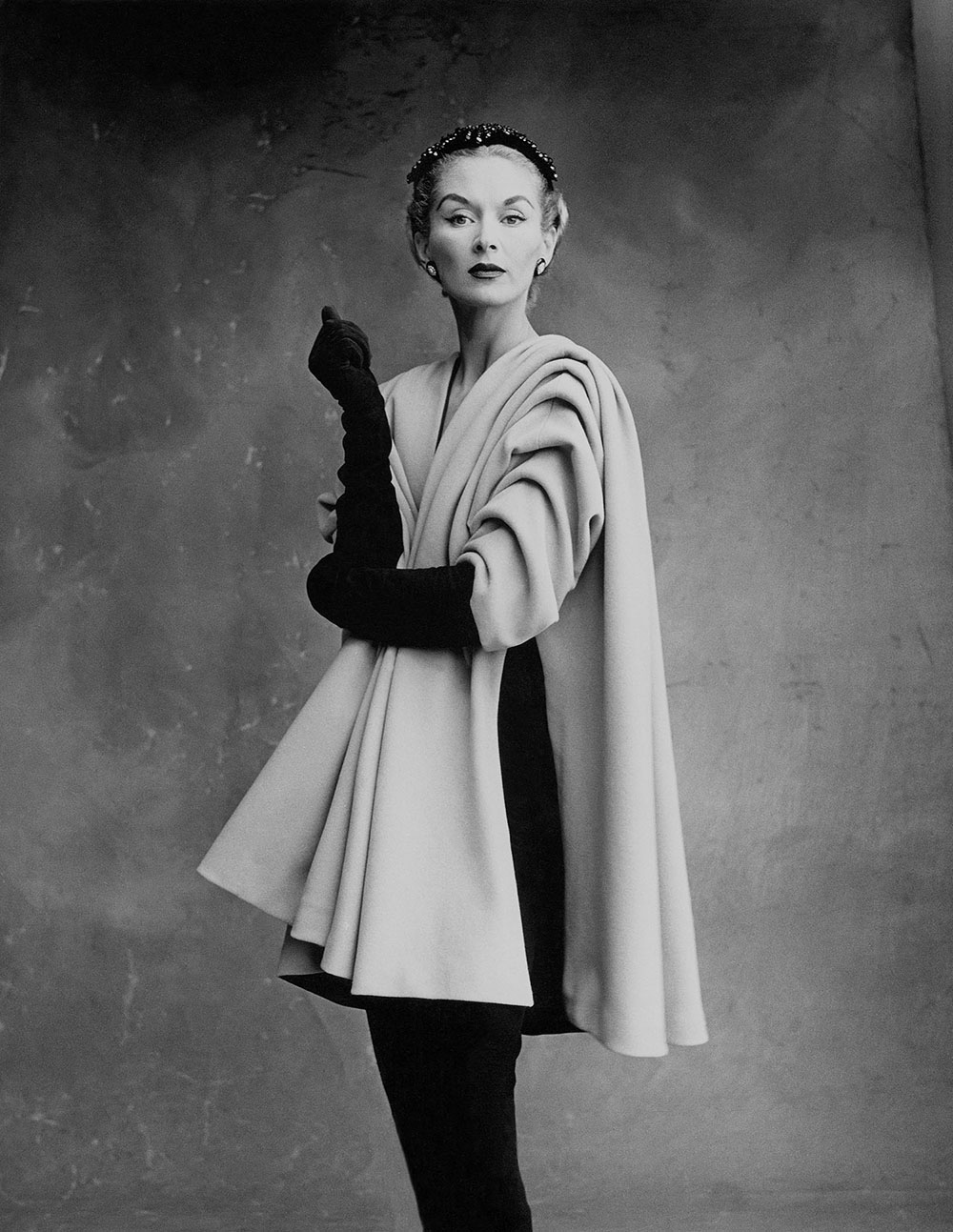 Lisa Fonssagrives-Penn wearing coat by Cristóbal Balenciaga, Paris, 1950. Photograph by Irving Penn © Condé Nast, Irving Penn Foundation