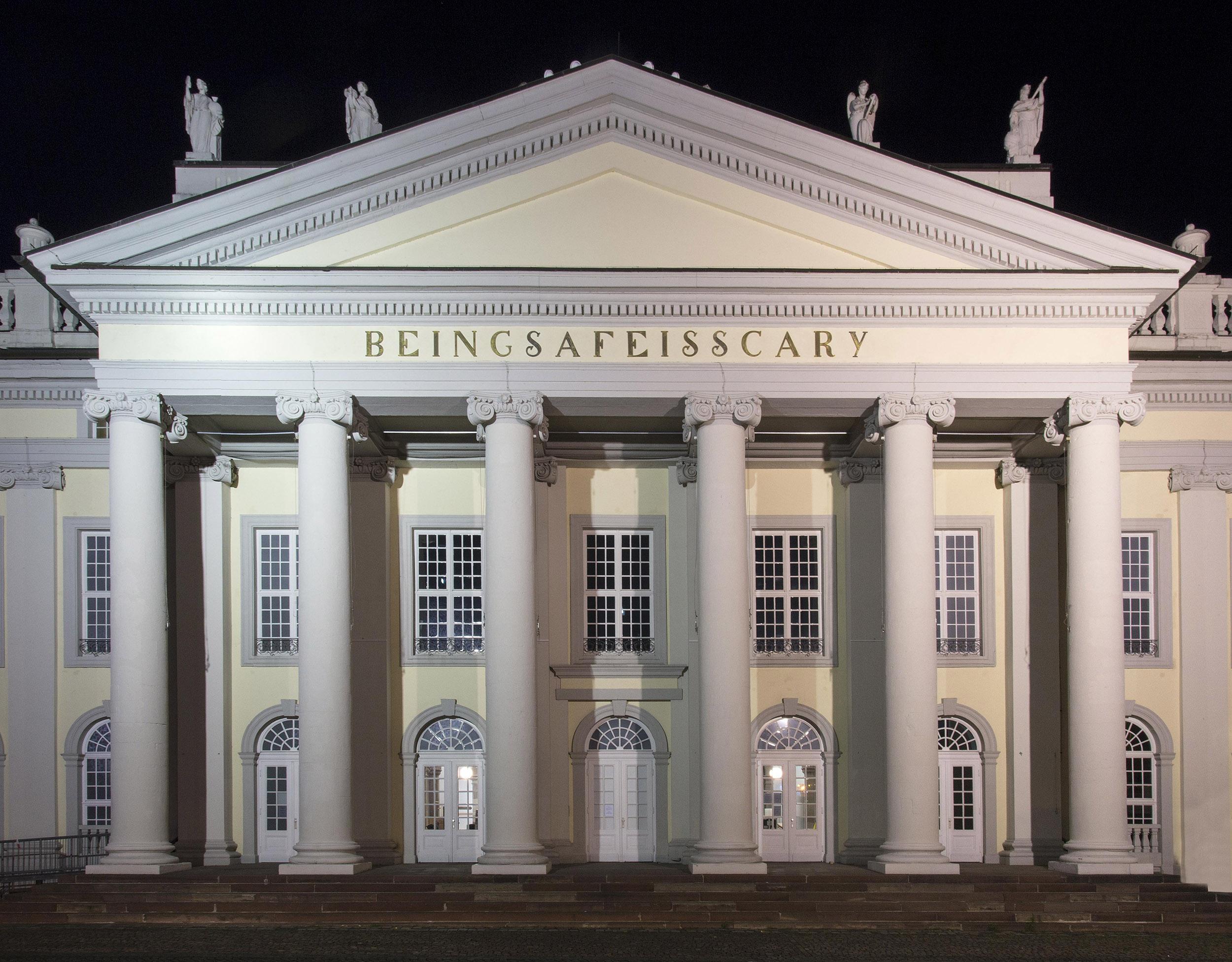 Banu Cennetoğlu , BEINGSAFEISSCARY , 2017, various materials, Friedrichsplatz, Kassel, documenta 14, photo: Roman März