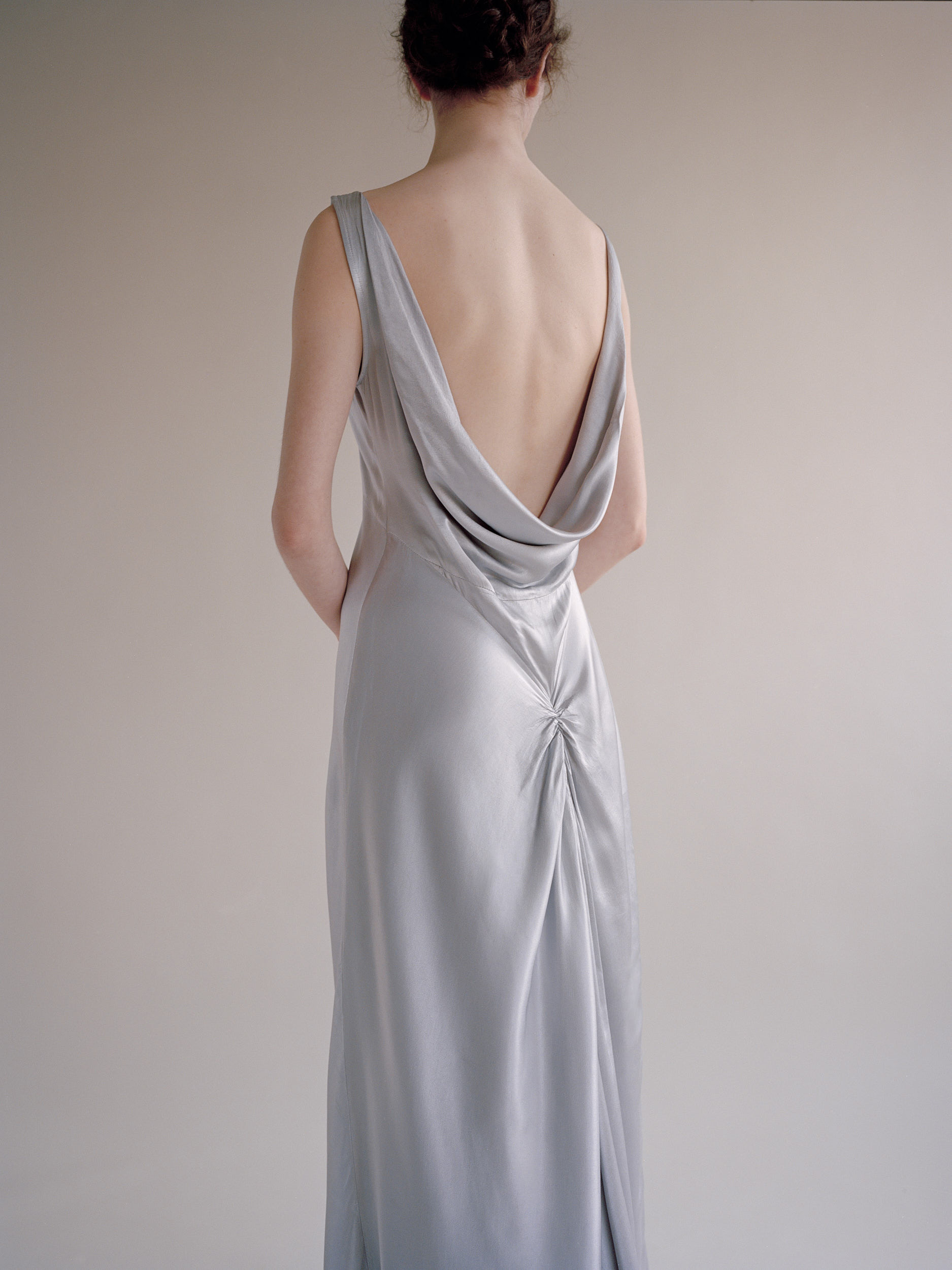 Pearl Grey Satin Dress by Ghost