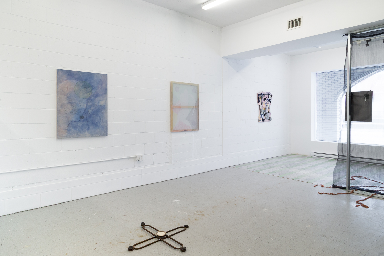 Installation View,  Four Pillars,  2018 © Sandra La Rochelle. Courtesy of L'INCONNUE. Left to right: Hanna Hur's  Fever  II, 2017; Maia Ruth Lee's  Mother's Knot,  2018; Hur's  Endless Spring vii,  2017; Zadie Xa's T he Rabbit, the Knife and the Year of the Pig,  2017, Hur's  Mother ii,  2017. Laurie Kang's  In Form and Ruin,  2017.