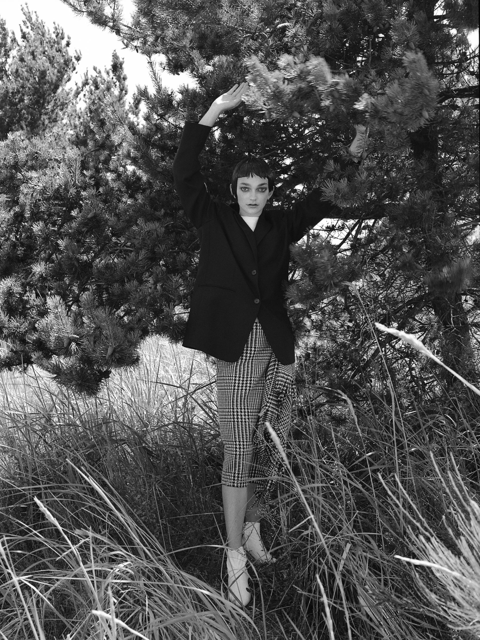 Skirt - Balenciaga, Blazer - Vintage (stylist own), T-shirt - Hanes