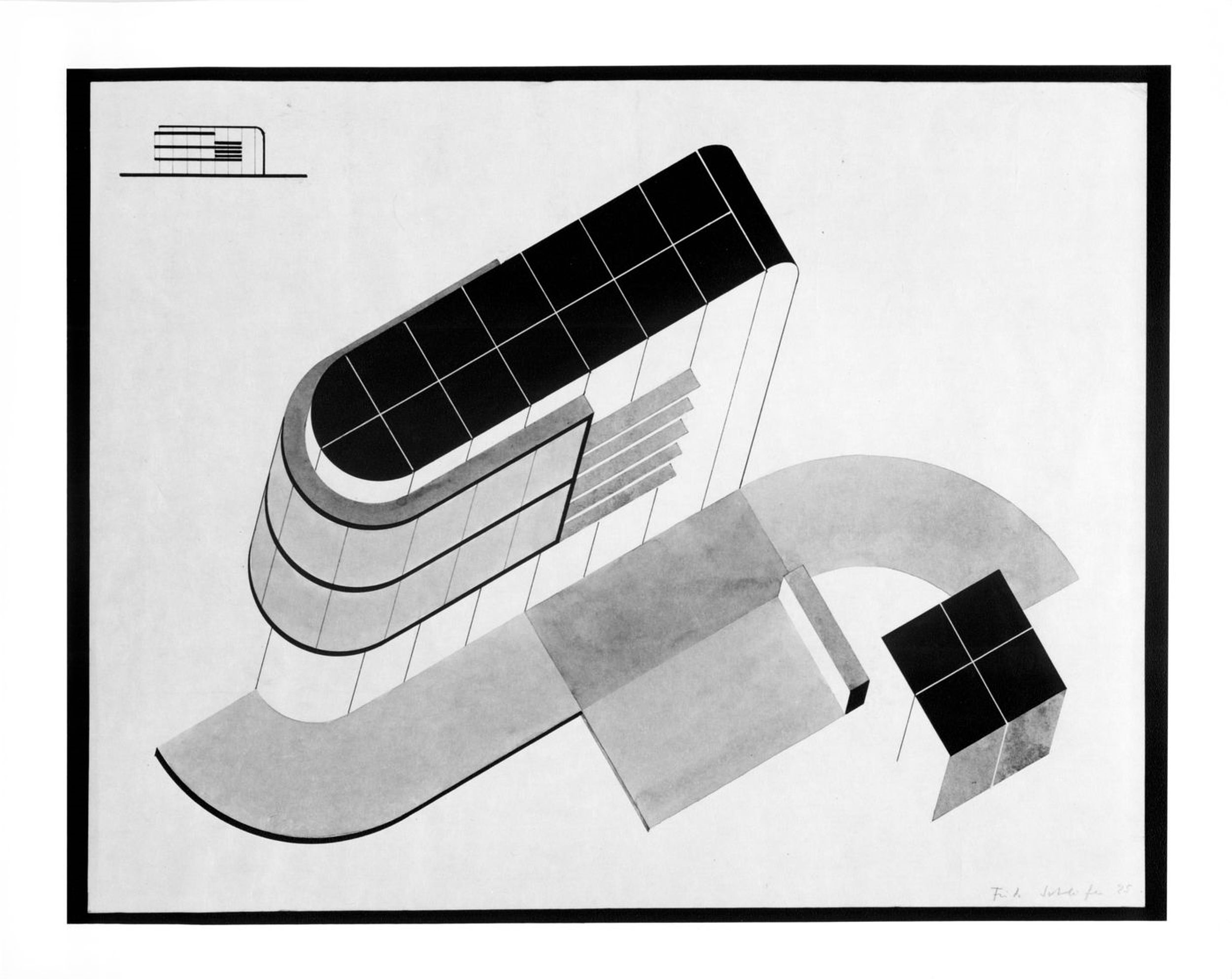 Axonometric drawing and section for a student project at the Bauhaus — Collection Centre Canadien d'Architecture/Canadian Centre for Architecture, Montréal