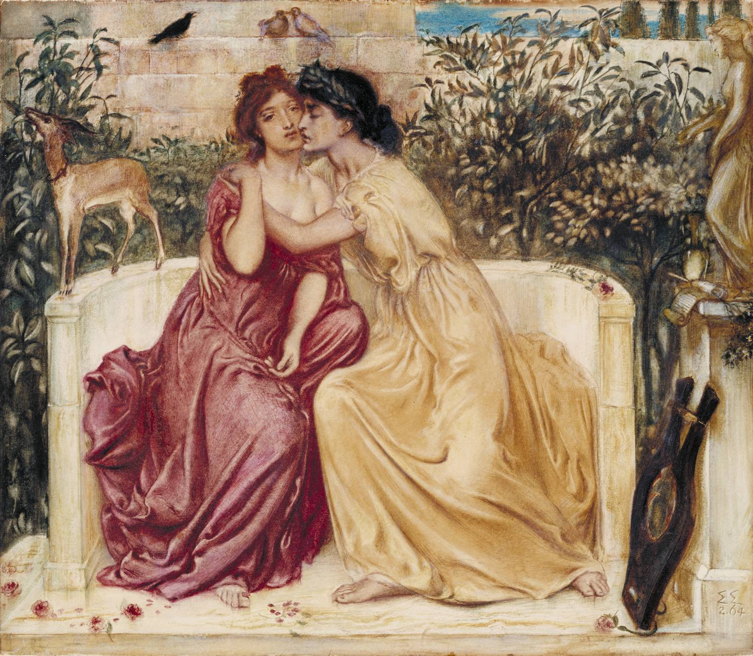 """The painting """"Sappho and Erinna in the Garden Mytelene"""" by Simeon Solomon, in which a pale woman with brown hair wearing a red dress is held by another pale woman with black hair wearing a yellow dress. They sit together on a stone bench surrounded by nature."""