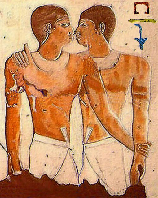 Hieroglyph of Niankhkhnum (standing, left) and Khnumhotep (right, with his right arm on Niankhkhnum's shoulder)