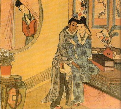 A painting of a woman spying on two men having sex. The piece is from the Qing Dynasty.