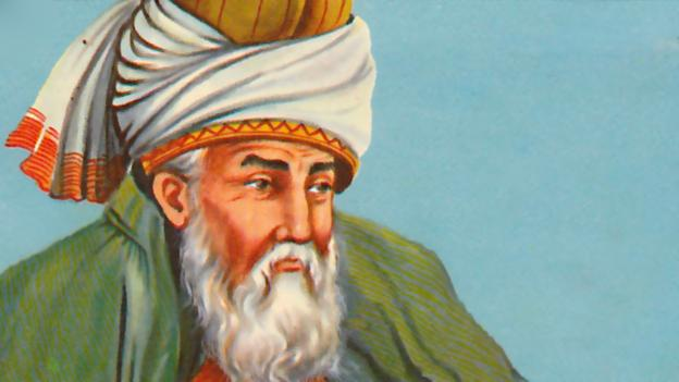 [Image Description: A painting of Jalāl ad-Dīn Muhammad Rūmī, an older Persian man with a long white beard.]