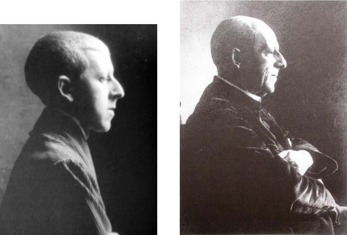 Side by side profile photos of Claude Cahun, a white Jewish person with a shaved head, and Cahun's father Maurice Schwob, an older white Jewish man with a bald head. The two have very similar profiles.