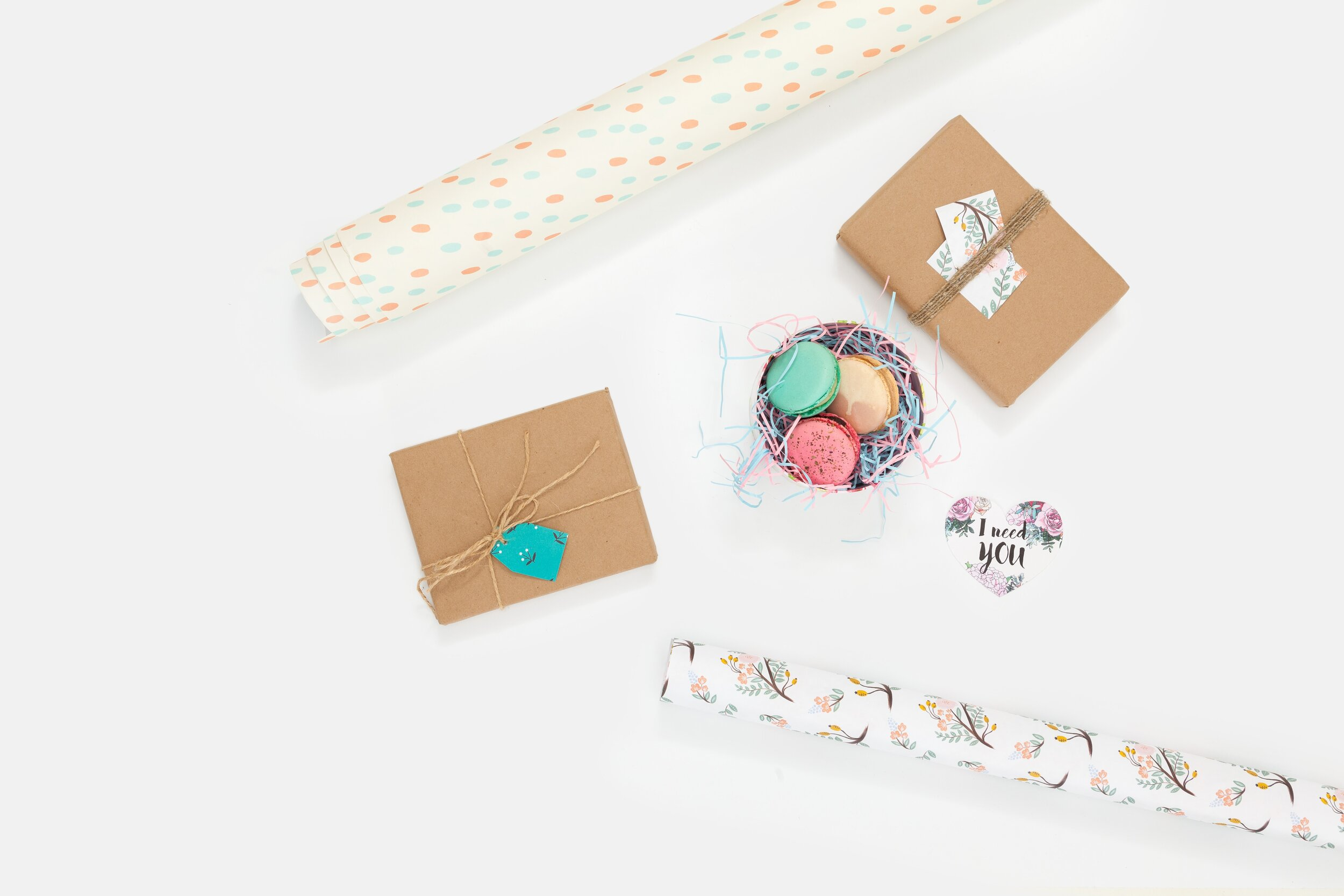Pastel gift wrapping supplies