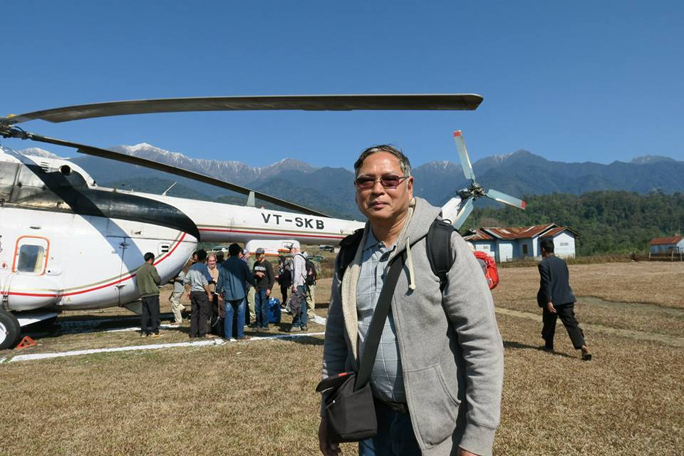 Ahpu getting ready to board a helicopter to go to a remote village in Northern India, only accessible by helicopter or a 7 day walk from the closest city. He spent 2 weeks preaching and teaching to Lisu people there in 2018.