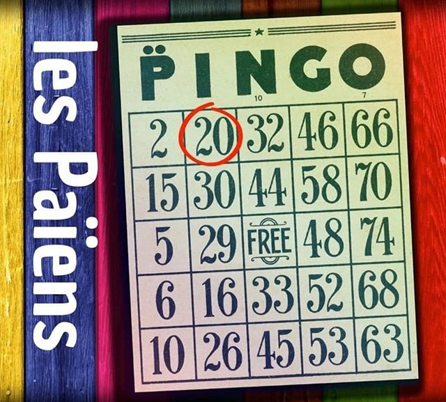 "PINGO! Ce soir!  7pm / 19h -Door 7:30PM / 19h30 -  Bingo 8:30PM / 20h30 - Audience themes are collected / Les thèmes du public sont rassemblés.  9pm / 21h - PINGO! 11pm / 23h -  Jedi of Funk  The Pink Flamingo https://www.facebook.com/events/401319160456776/?active_tab=discussion  For every Pingo Jam, we'll choose three balls for: duration, musical genre and theme. The themes will be decided by the audience and the band!  Pour chaque Pingo Jam, nous choisirons trois boules pour: la durée, le genre musical et un ""thème"". Les thèmes seront décidés par le public mais et Les Païens!  Examples:  Like a car chase Cowboys dans l'espace La Sagouine Dance Party"