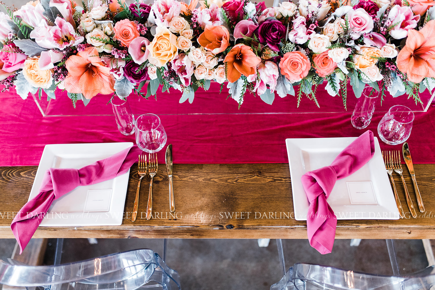 Pink and Coral floral garland and place setting