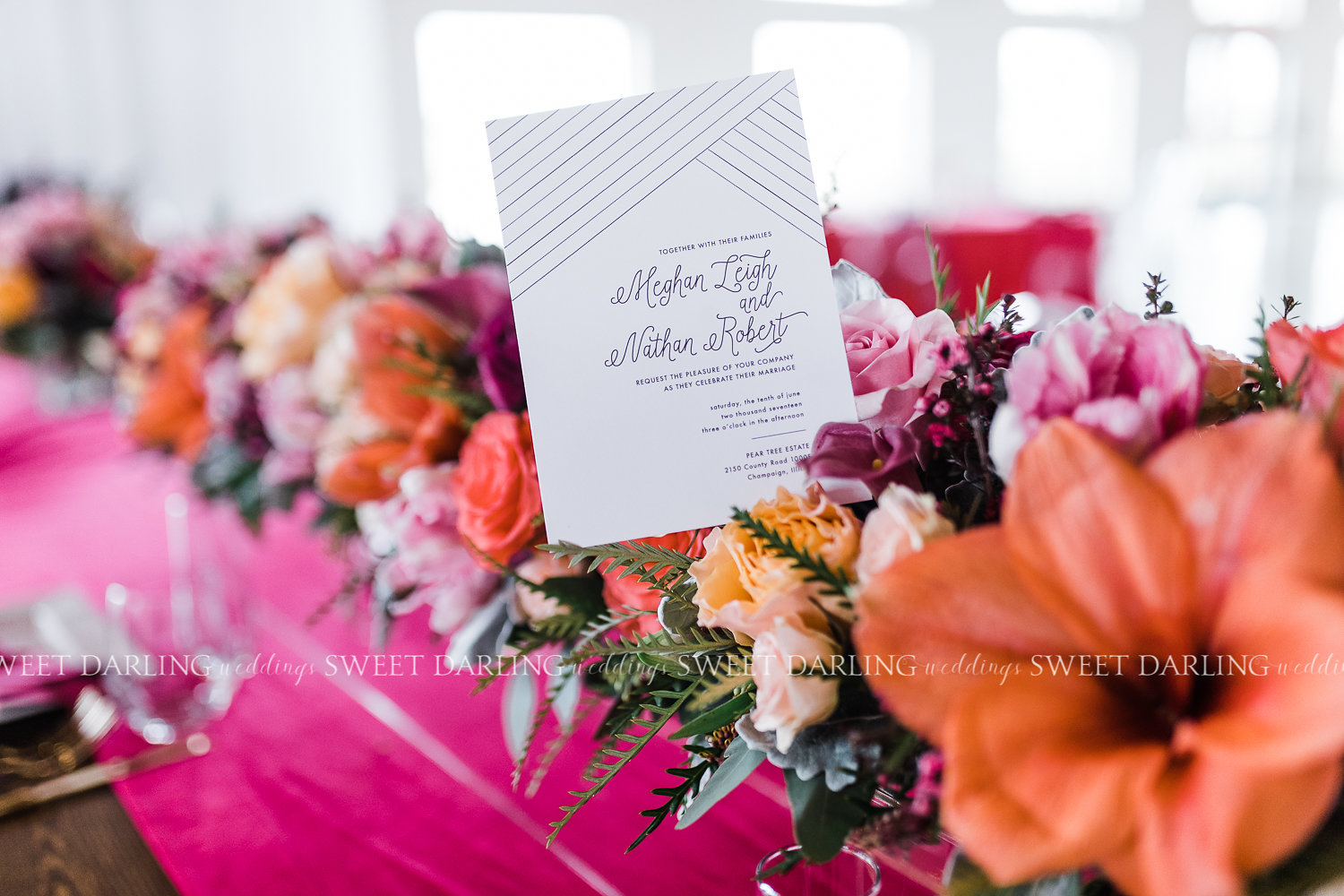 How do you know you are working with some outstanding creatives? When the stationary designer, Dash/wood,  picks up the small linear details in the couture bridal gown and used it as inspiration for the invitation suite.