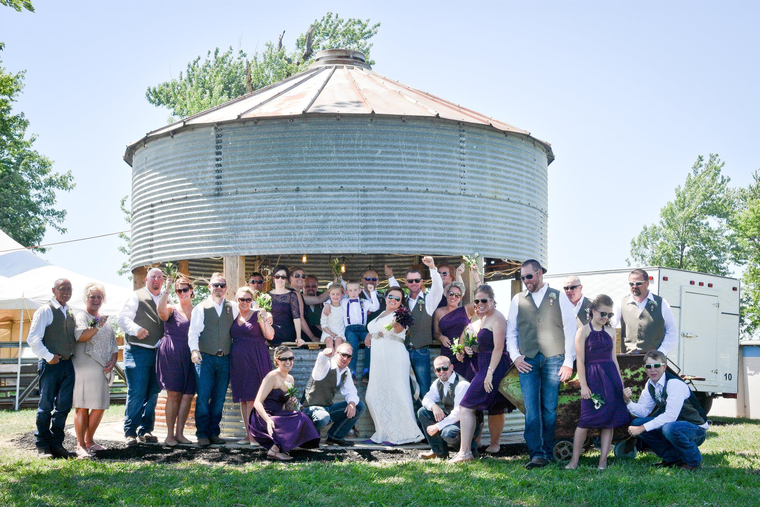 Knoxville Illinois Summer Backyard Wedding Grain Bin Bar