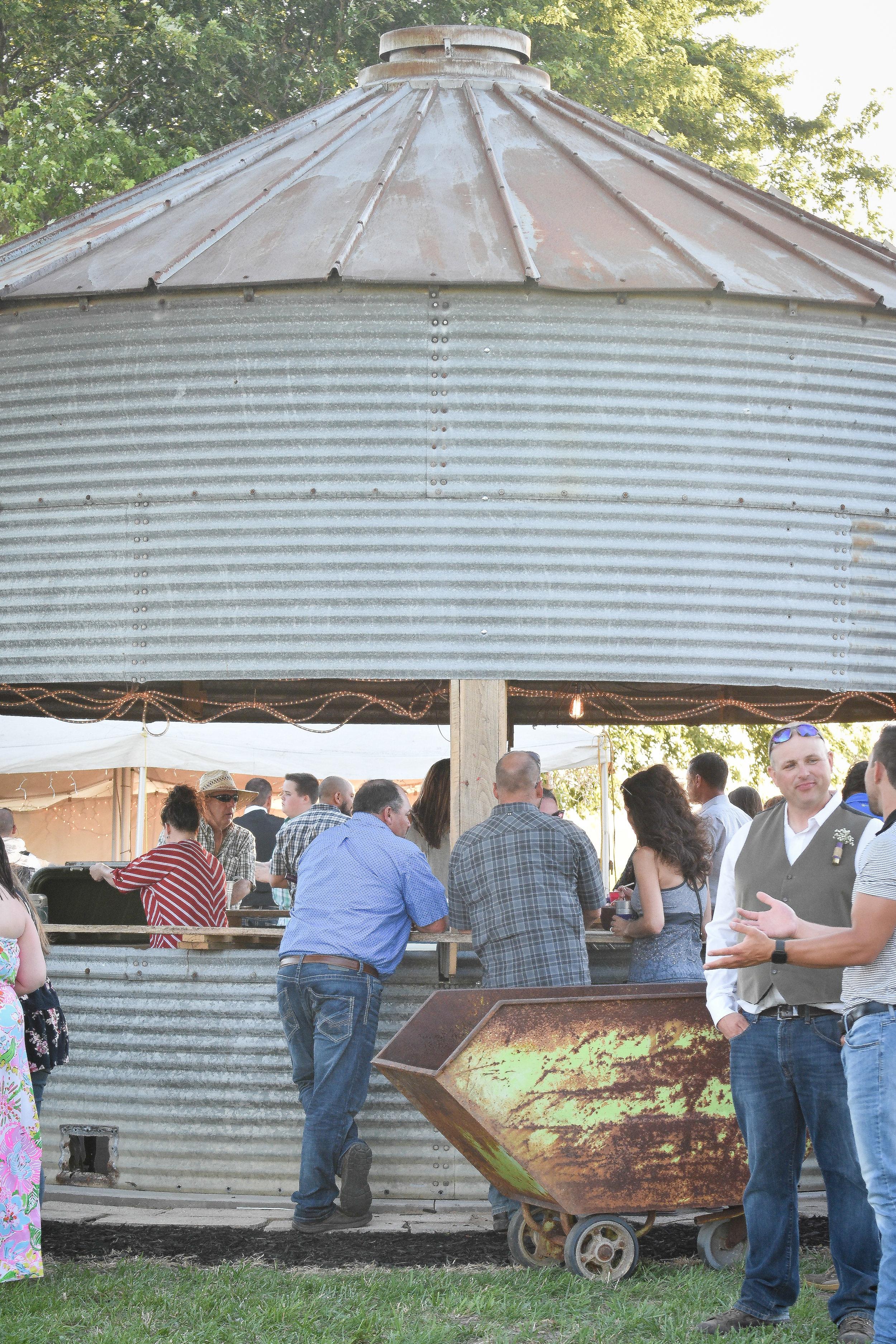 Central Illinois Backyard Wedding Grain Bin Bar