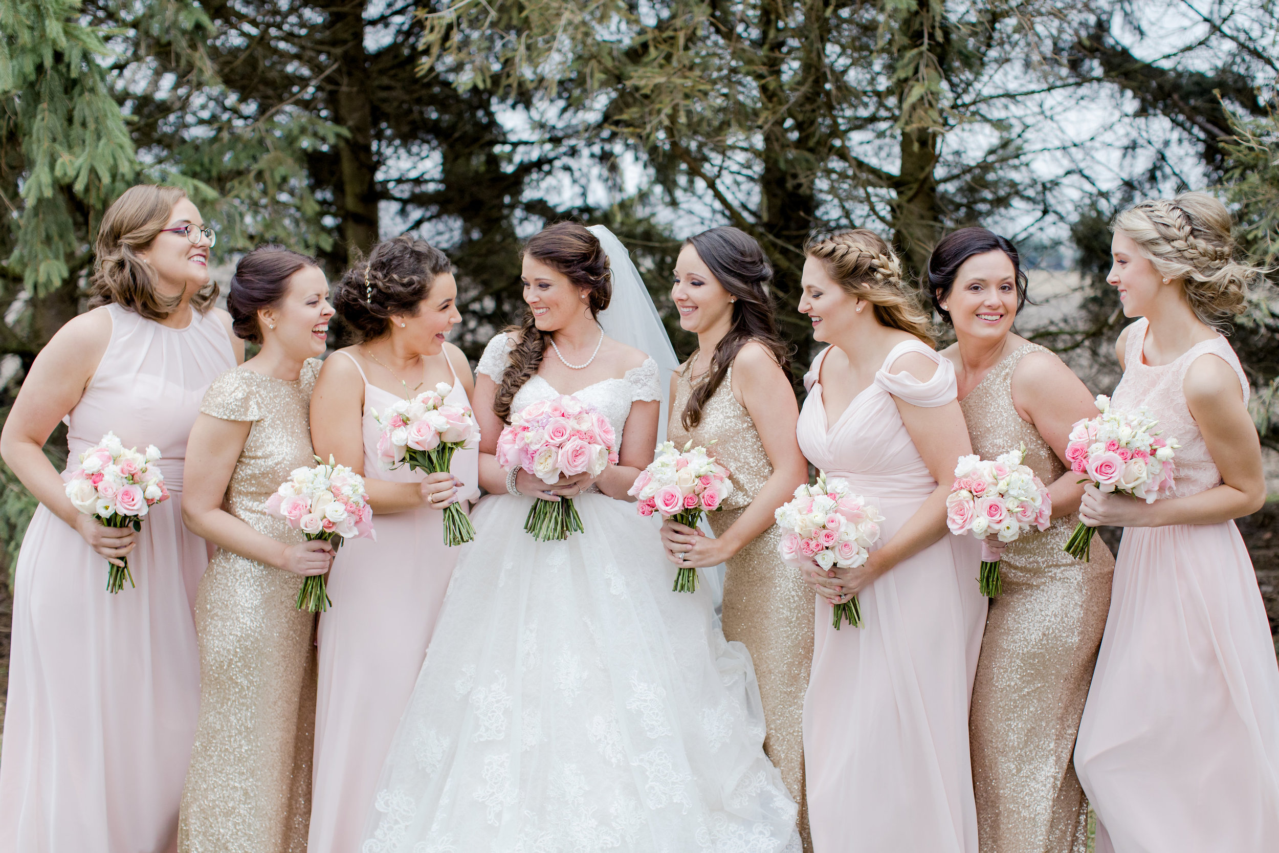 Classic Pink Rose Bouquets Bridal Party J.Blu Design Champaign Illinois