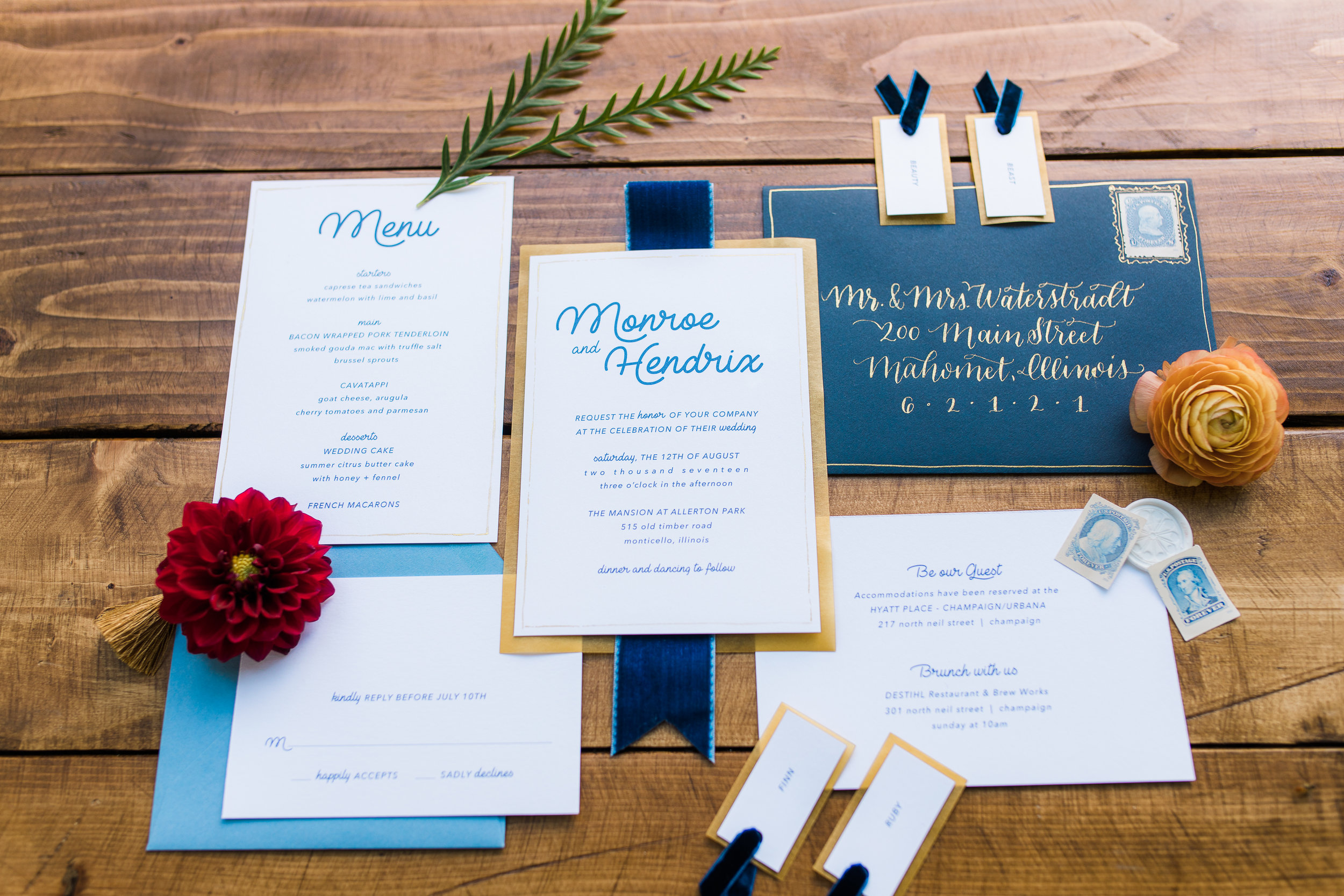 Peoria Illinois Wedding Florist J.Blu Design Invitation Design Dashwood