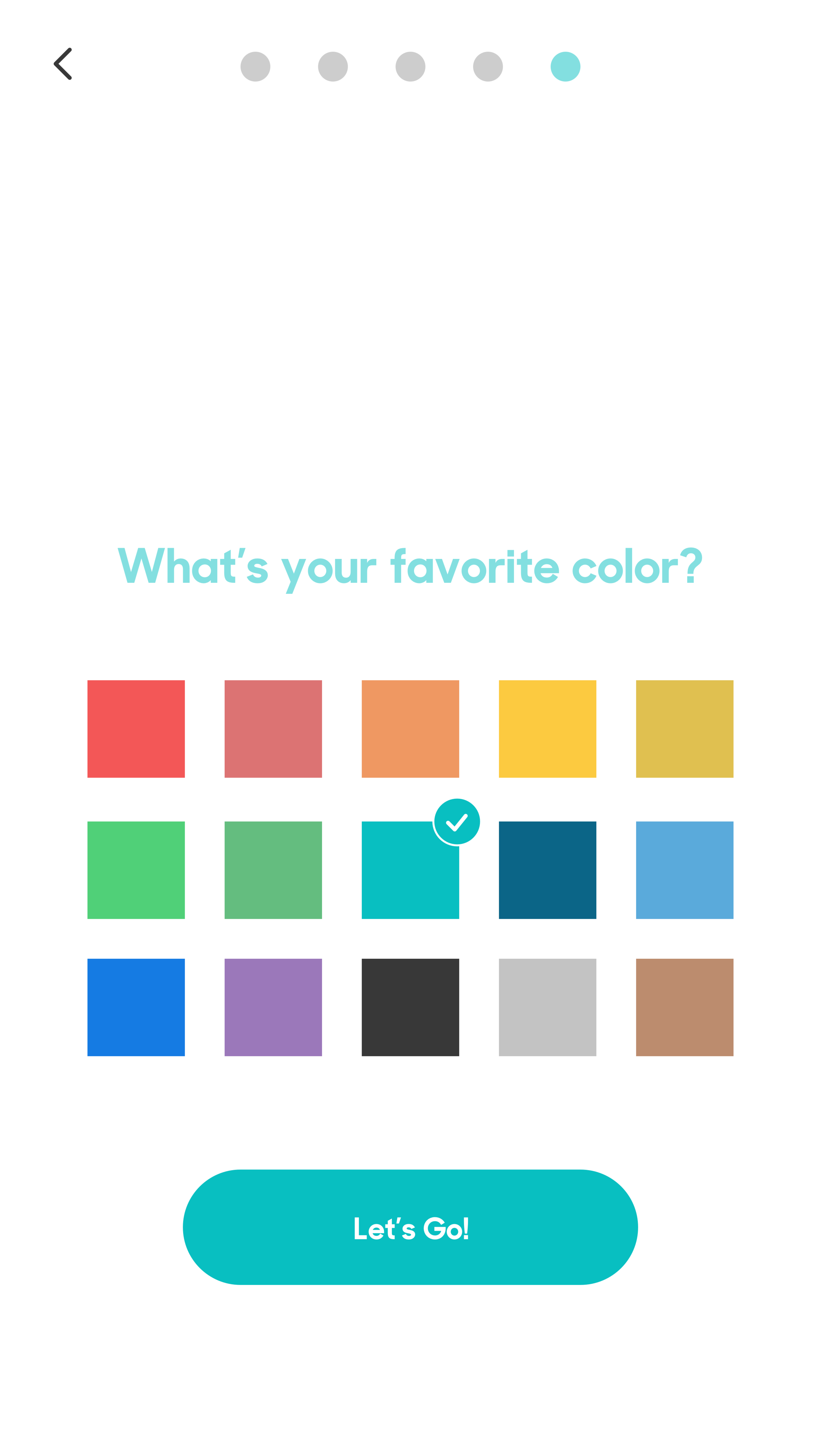 An ideated level of customization was to choose a favorite color which would in turn change the accent color in the app.