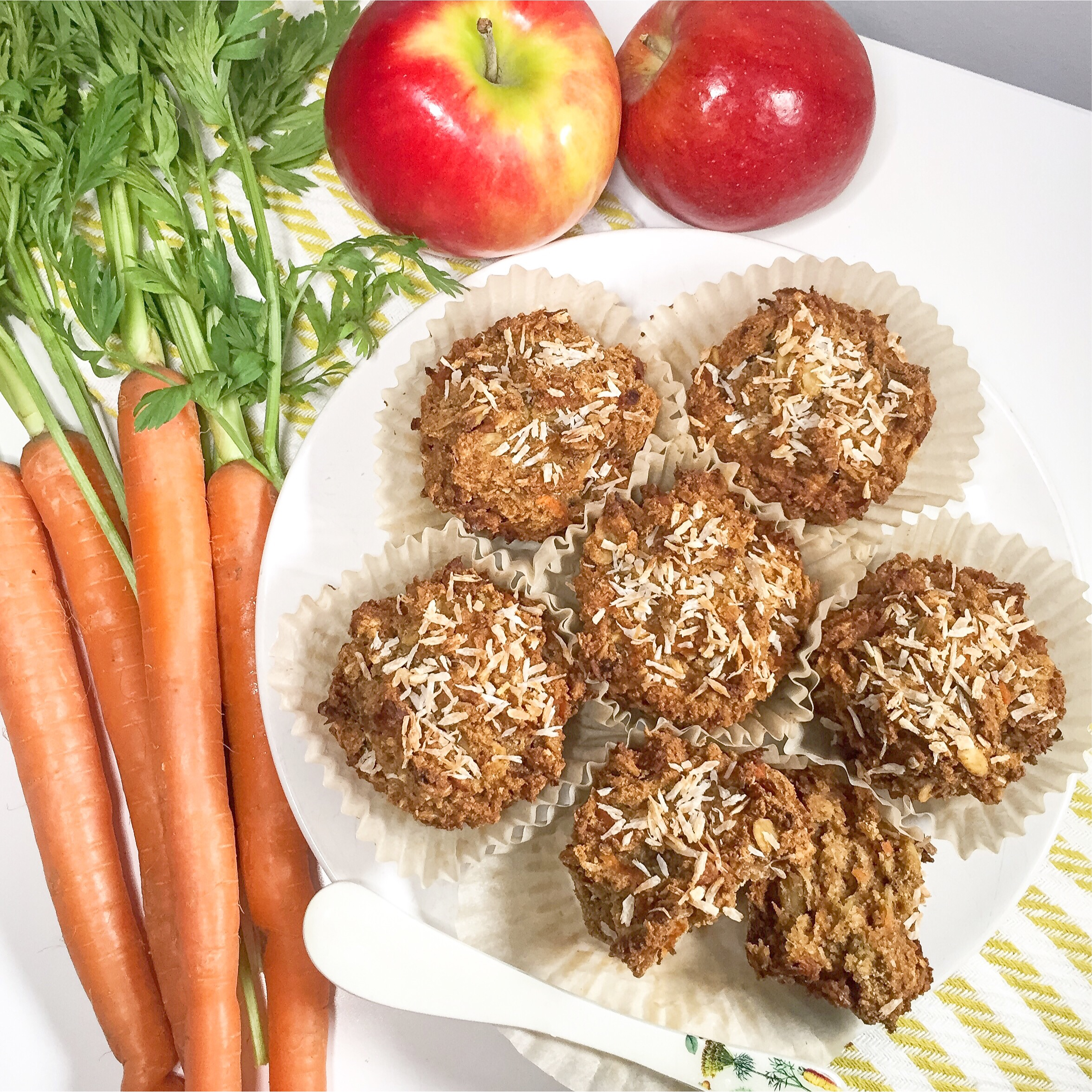 Carrot, Apple & Coconut Muffins