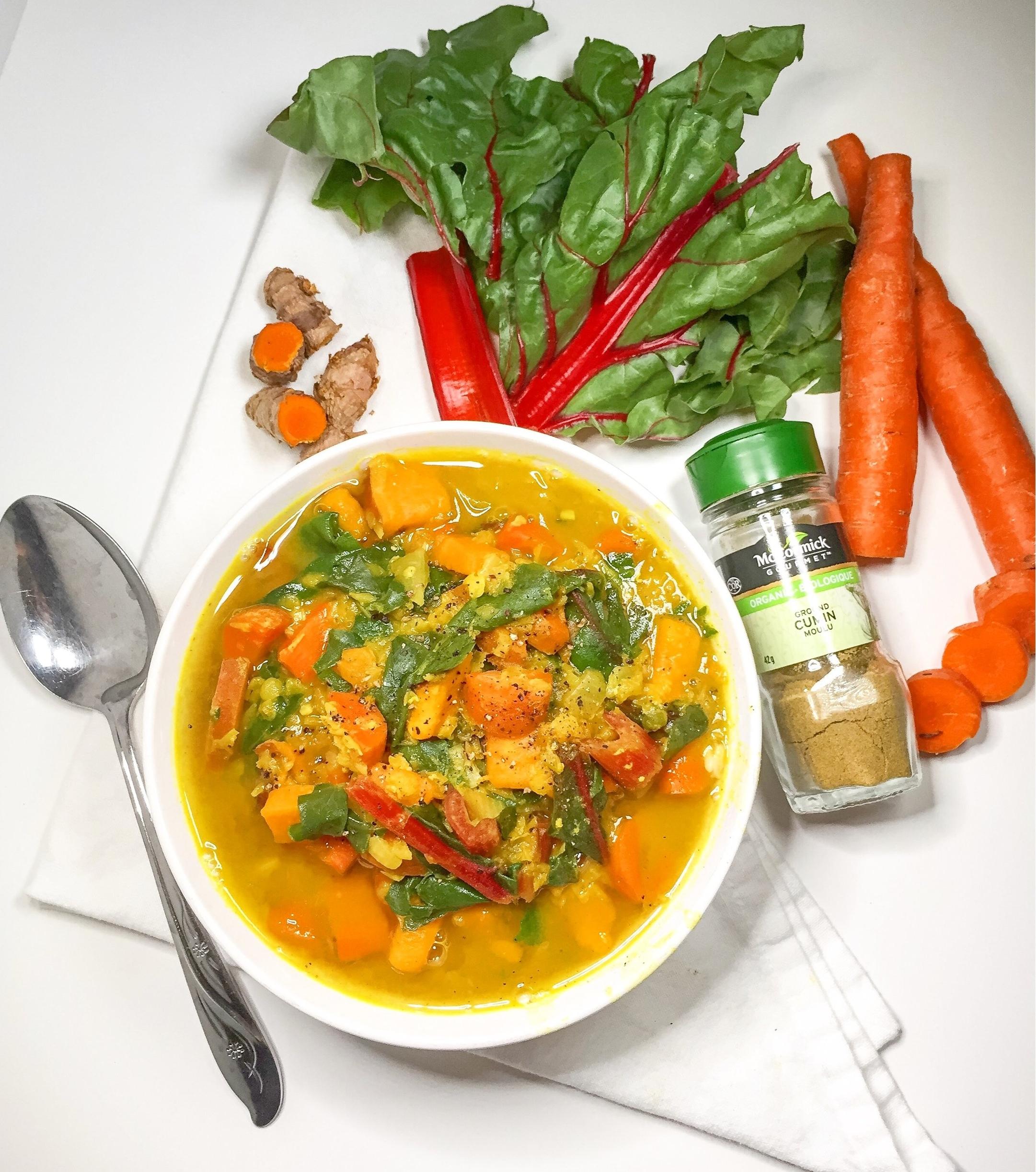 Anti-Inflammatory Sweet Potato, Lentil & Swiss Chard Soup