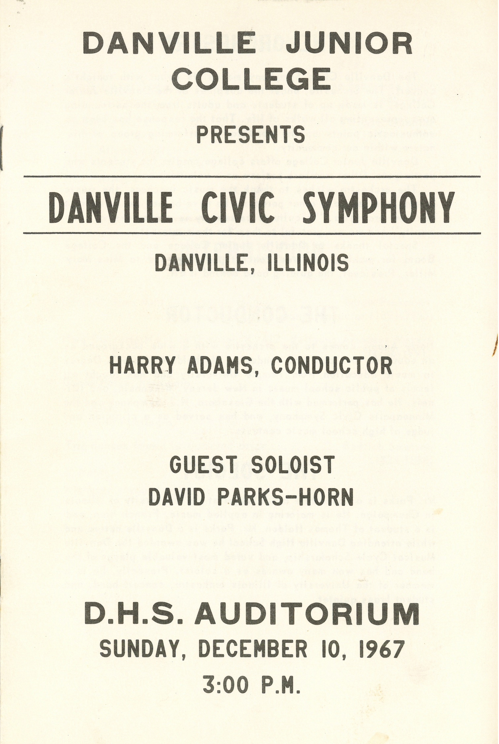 First concert program. Courtesy DSO archives.