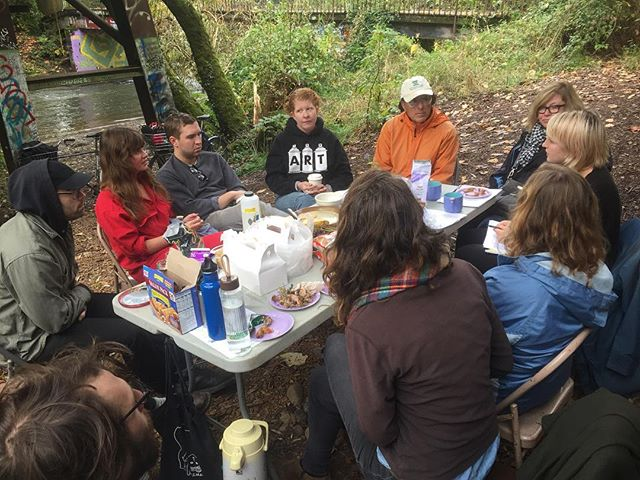 Though our mission  focuses on building inclusive community for people with disabilities, we strive to involve, empower and champion all marginalized communities. Here is our own @laurengracemoran leading a conversation about the Springwater Corridor sweeps that displace houseless communities along Johnson Creek.  Think this is important work? Help us help others by donating to our @kickstarter campaign today! (Link in bio) • • • #publicannex #pdx #pdxnonprofit #nonprofit #goals #halfway #kickstarter #fundraiser #community #springwatercorridor #portlandnw #donate