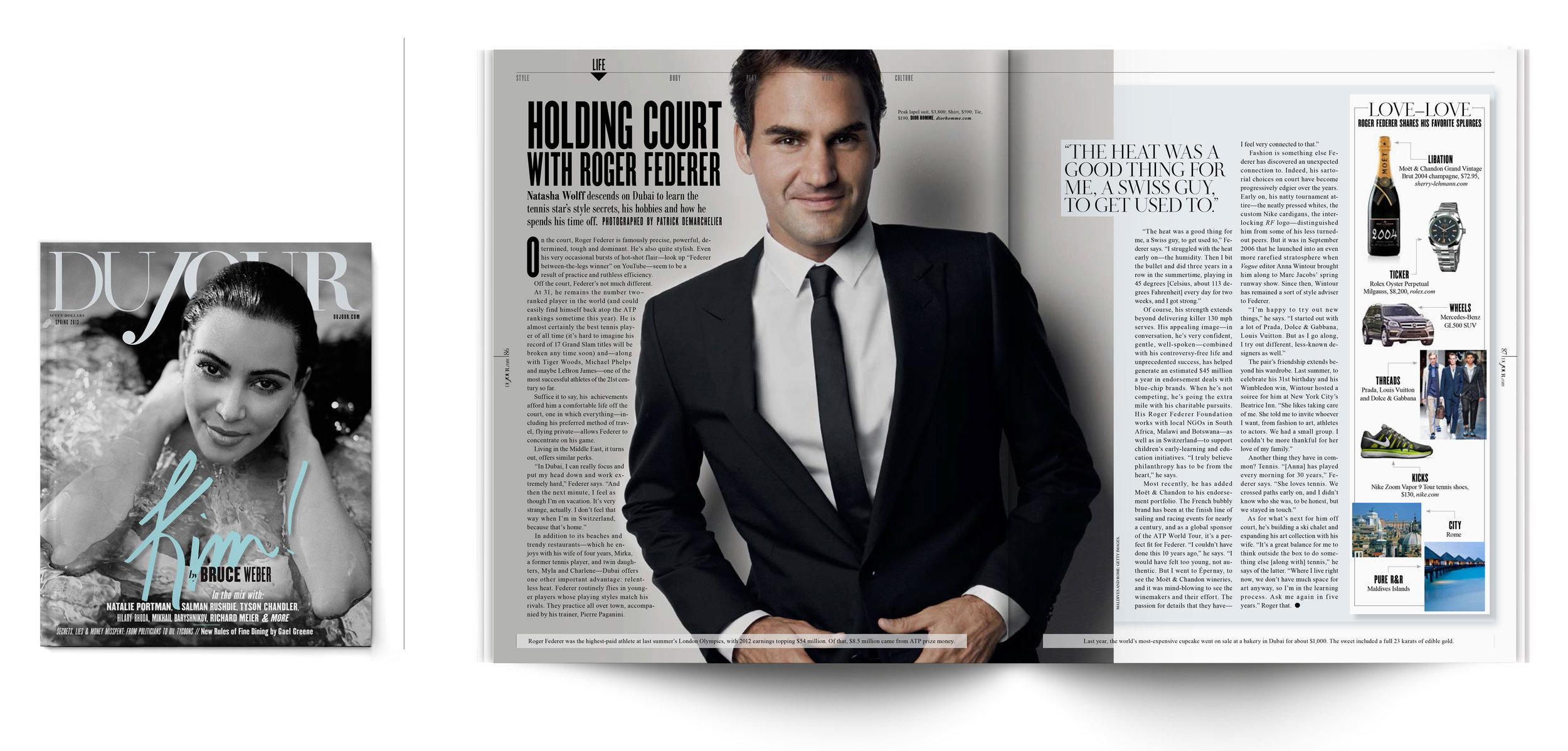 DuJour Magazine | Spring 2013  Holding Court with Roger Federer