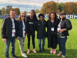 Filming at PSG Feminine with our team, Kely (Co-director), Justin Noto (Co-director) and Eric Branco (Director of Photography), pictured with Formiga and Daiane of PSG and Brazil.