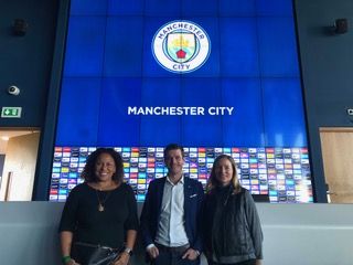 Filming at Manchester City with Gavin Makel, Head of Women's Football.