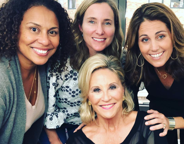 Filming at the Women's Sports Foundation Annual Salute with Julie Foudy, Donna de Varona and Kely.