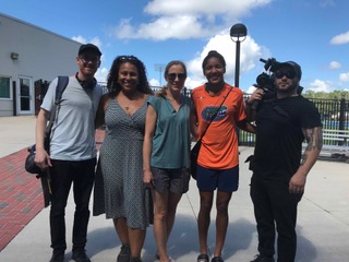Filming in Gainesville, Florida, with our team, Kely (Co-director), Justin Noto (Co-director) and Eric Branco (Director of Photography), pictured with Lais Araujo, the main character of the documentary.