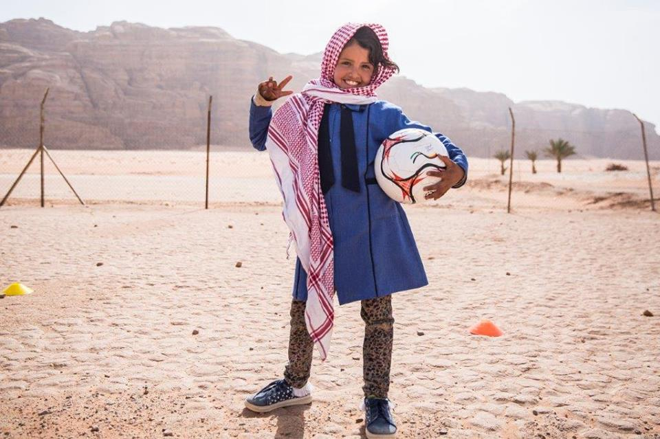 Girl at Wadi Rum football clinic.jpg