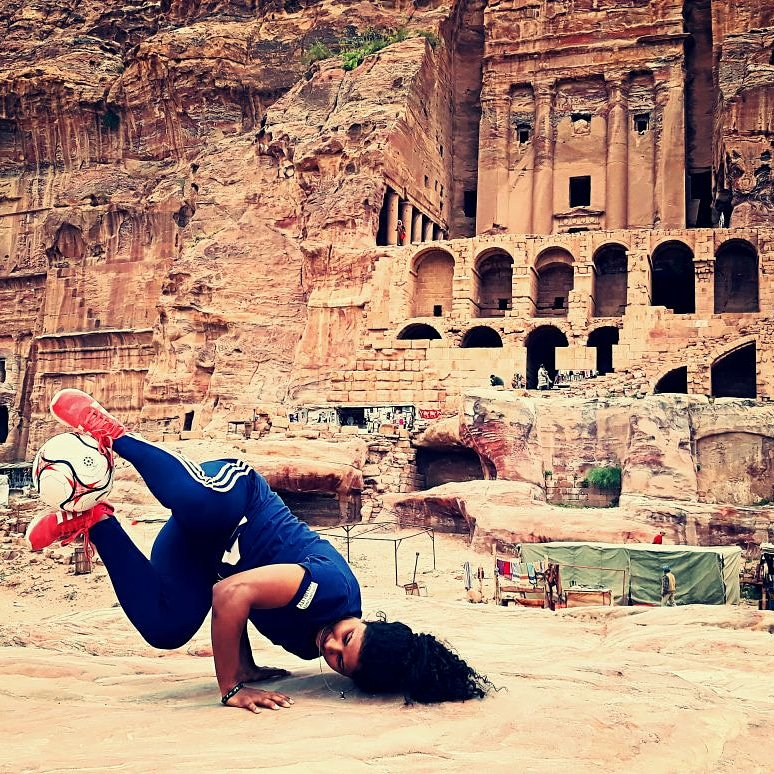 Hajra Khan, captain Pakistan at Petra.jpg