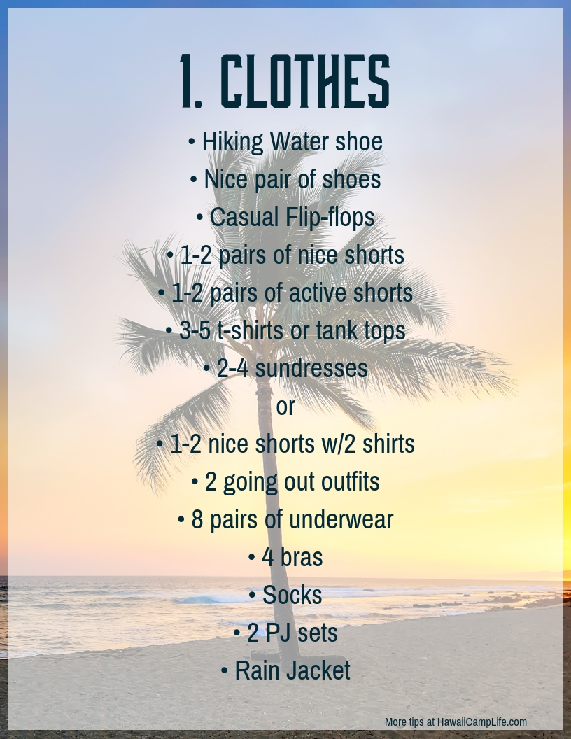 image regarding Printable Packing List for Hawaii known as Packing for Significant Island, a intensive checklist. Hawaiʻi Camp