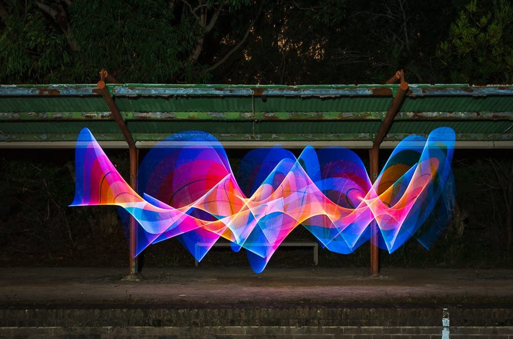 Experimenting with light graffiti at an abandoned train station in the Royal National Park