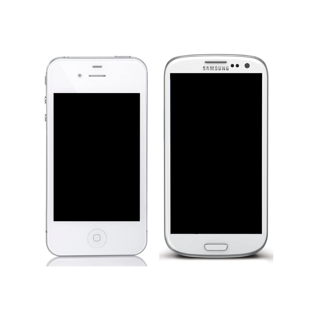 Apple iPhone (left) vs. Samsung Galaxy S (right). Pretty similar, right?