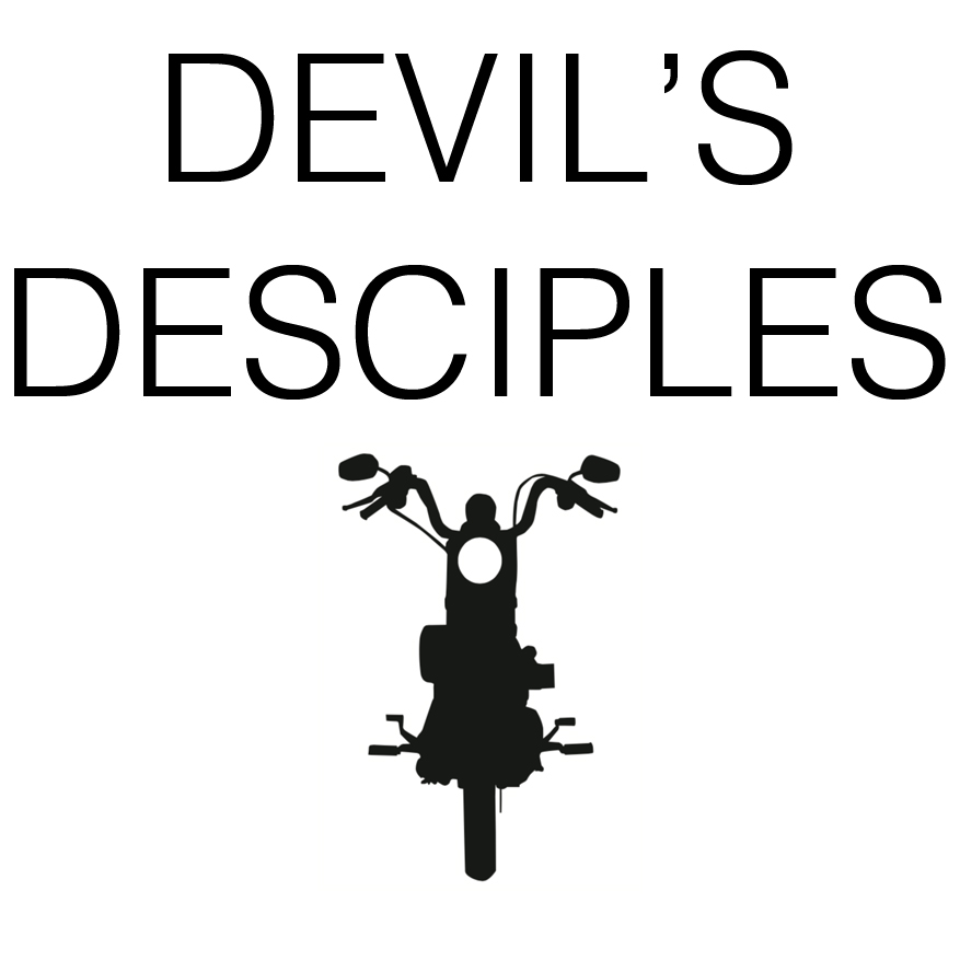 This graphic is representational only. The actual Devil's Desciples MC logo includes a swastika on its design, which we chose to omit from this blog post. Motorcycle courtesy of Vecteezy.