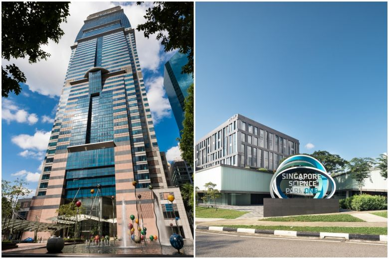 Capitaland (Capital Tower pictured, left) and Ascendas-Singbridge (Ascent, Singapore Science Park pictured, right) will start operating as a unified entity from July 1, 2019.