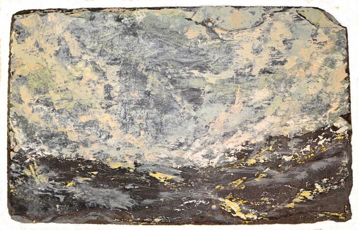 Hewn II , Sep. 2015 (oil on slate, 40 x 45cm)
