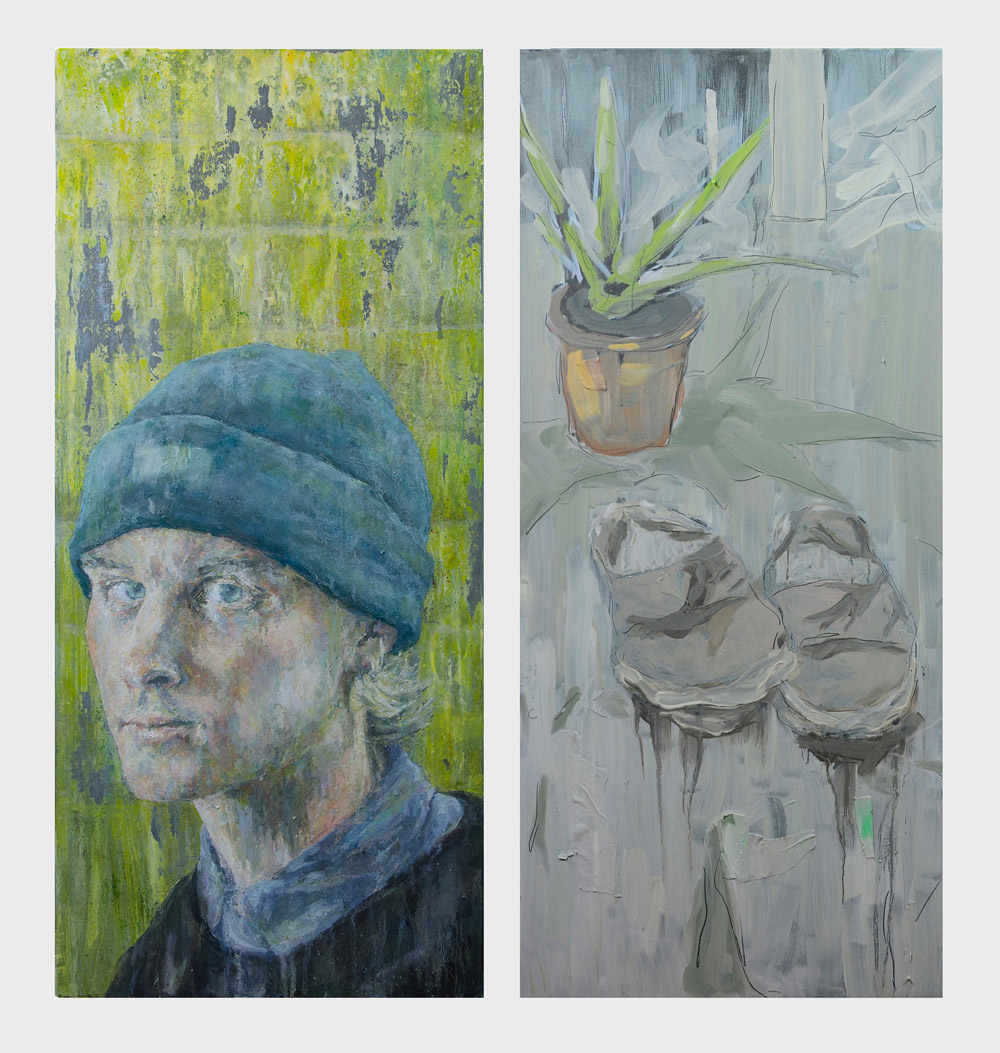 'Winter 2016', mixed media on two aluminium panels (oil, acrylic, graphite, charcoal, chalk, masking tape),60 x 60 cm  Selected for inclusion in the  Ruth Borchard Self Portrait Prize 2017