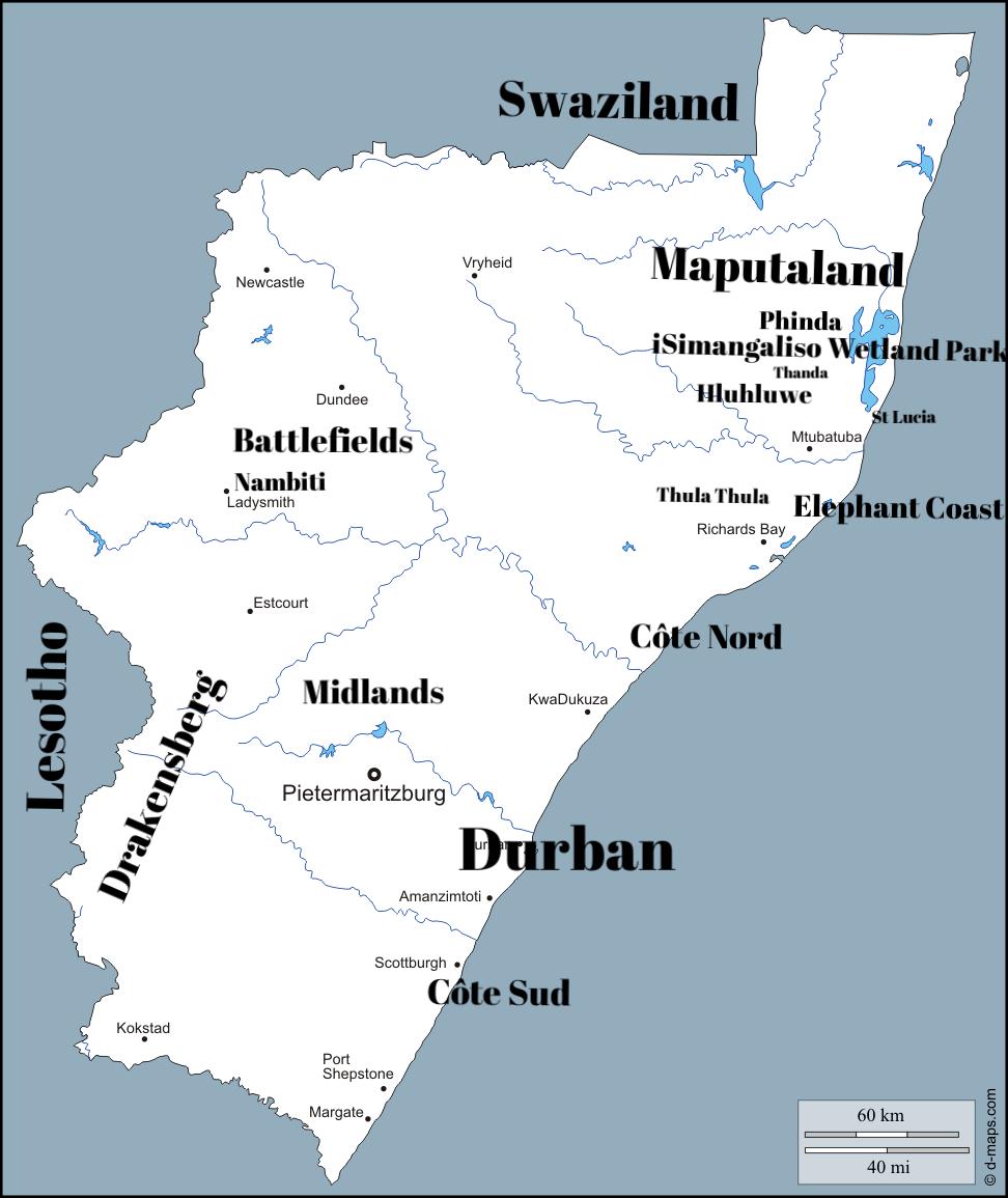 Carte du KwaZulu-Natal -