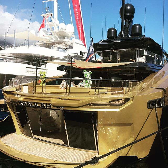 The golden goddess on show...and for sale with @superyachtsmonaco at the @monacoyachtshow #khalilah