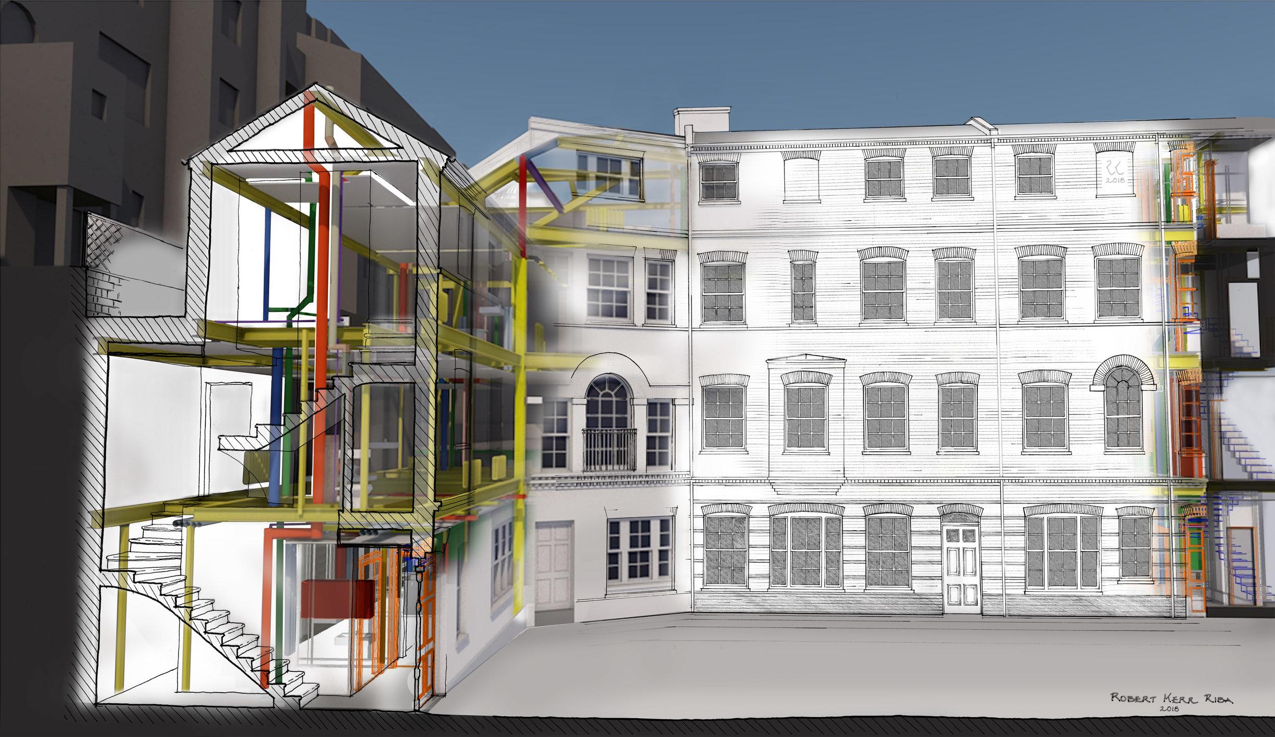 Robert Kerr_Traditional modern building-81x49.5x2cm.jpg